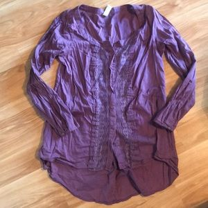 Free People button up blouse with lace detail